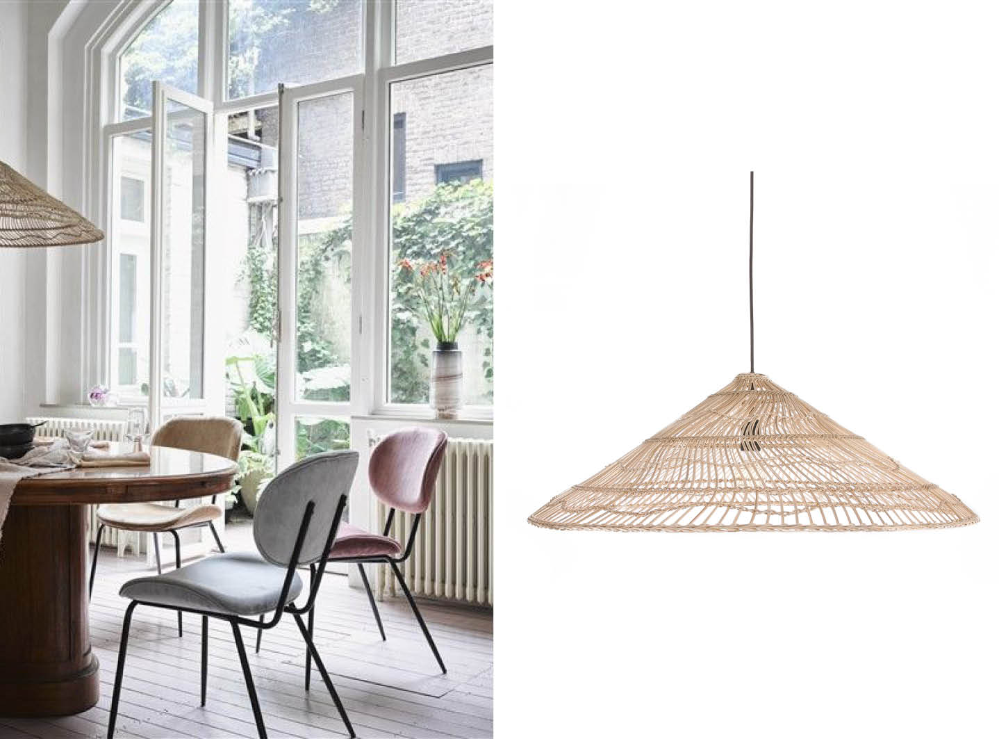 Wicker hanglamp | Cool eetkamerstoel