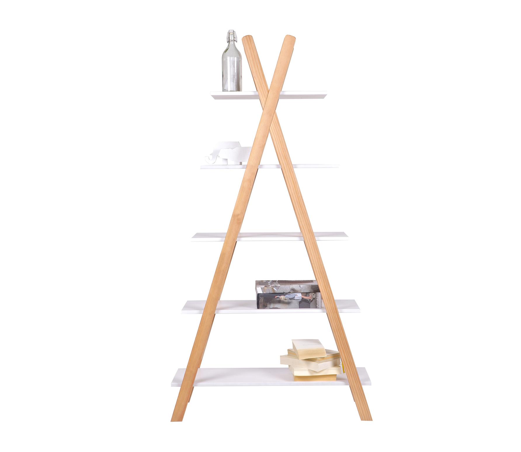 WOOOD Tipi boekenkast 177x85x39 cm hout wit/naturel