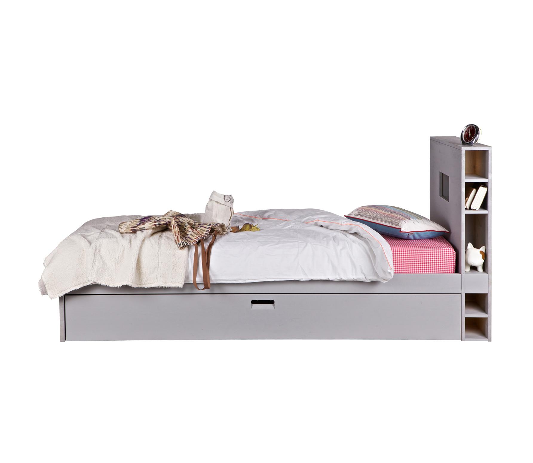 vtwonen Store junior bed 90x200 cm met matraslade grenen grijs
