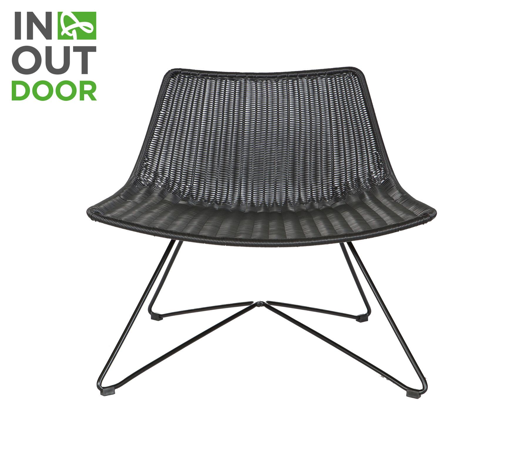 WOOOD Otis (binnen-buiten) fauteuil polyester rotan zwart