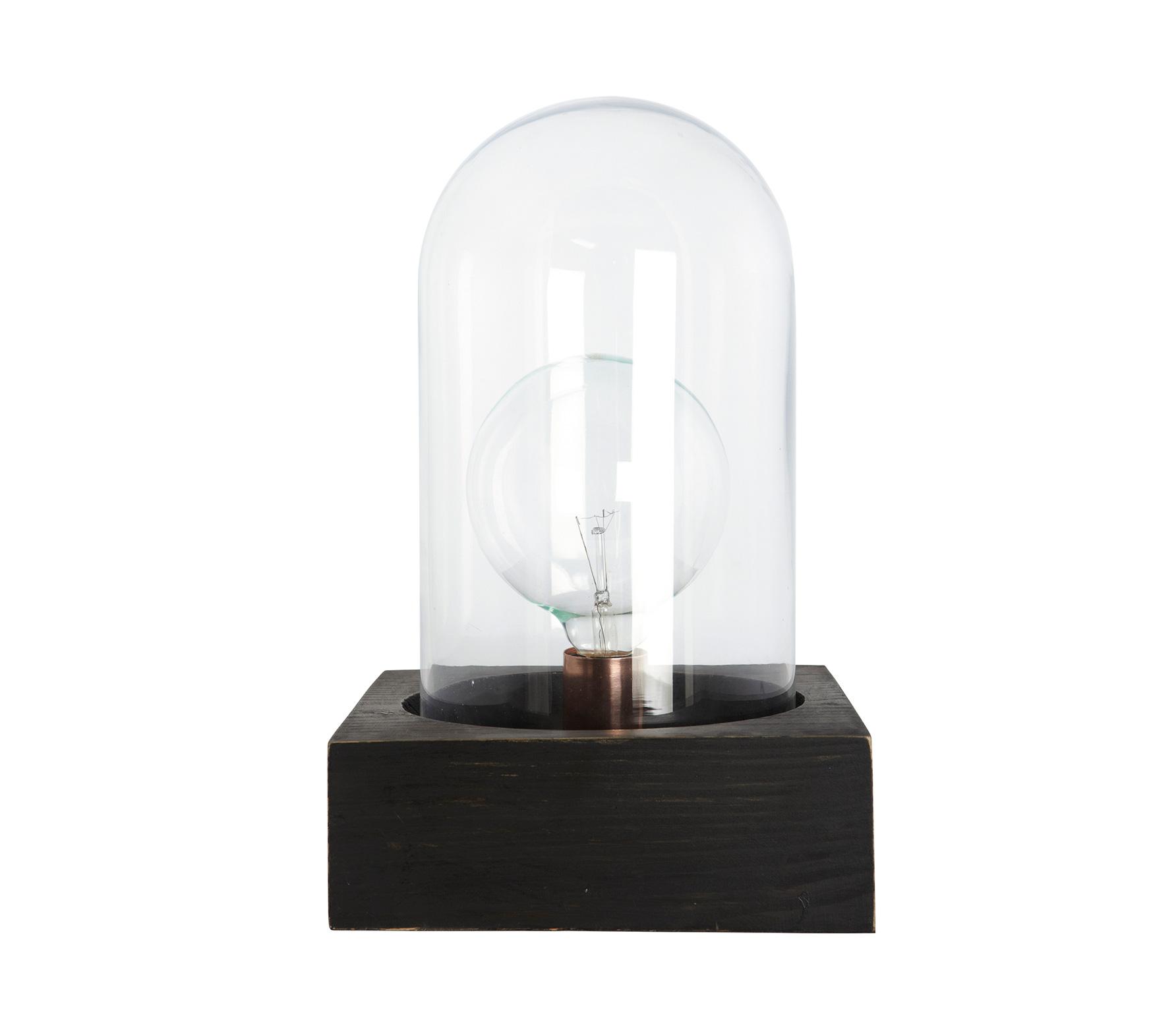 House Doctor Bell tafellamp met glazen stolp Zwart