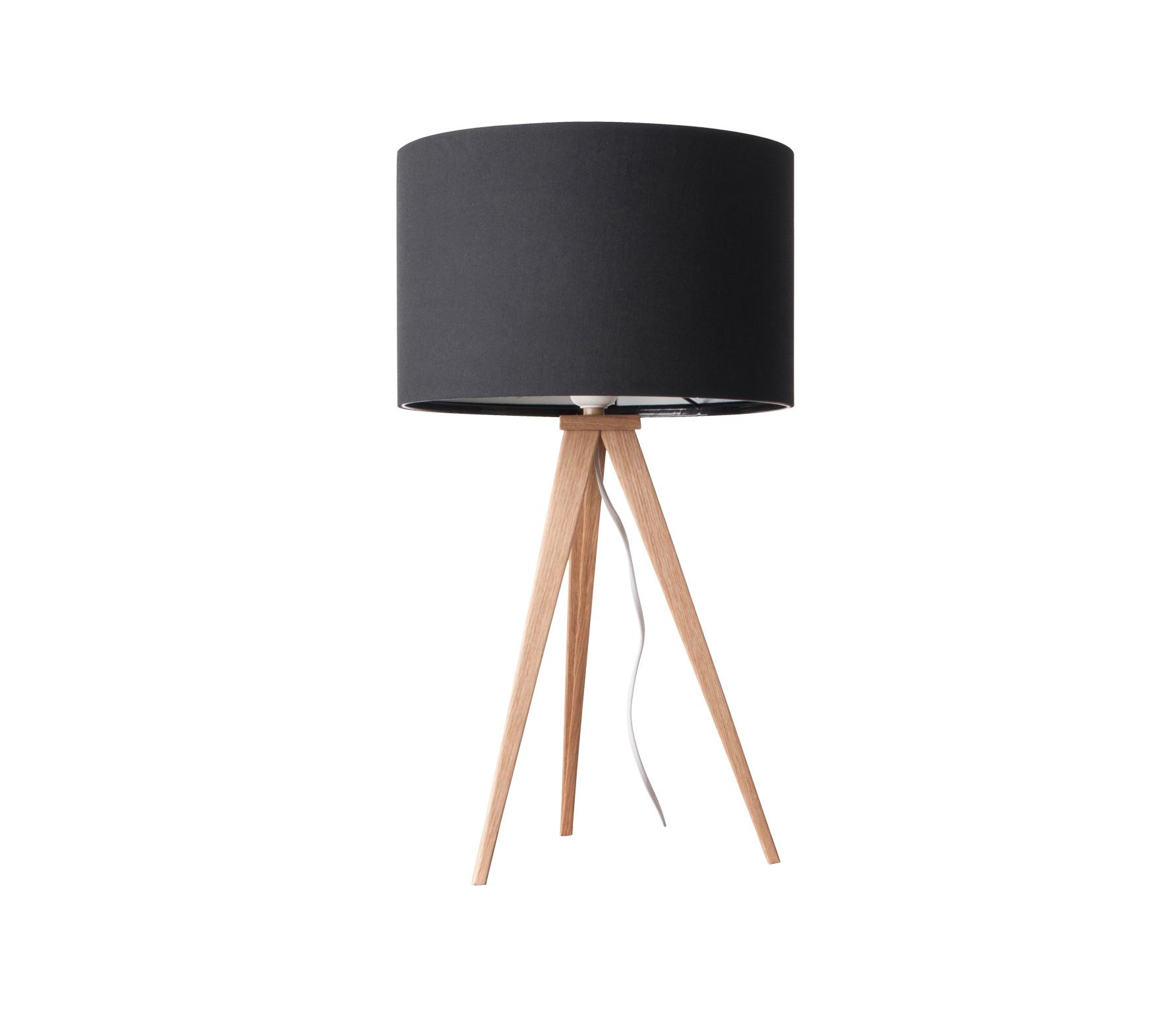 Zuiver Tripod tafellamp hout/stof blank/zwart