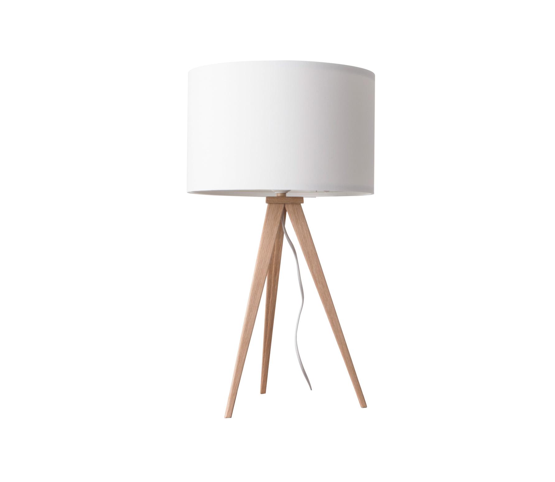 Zuiver Tripod tafellamp hout/stof blank/wit