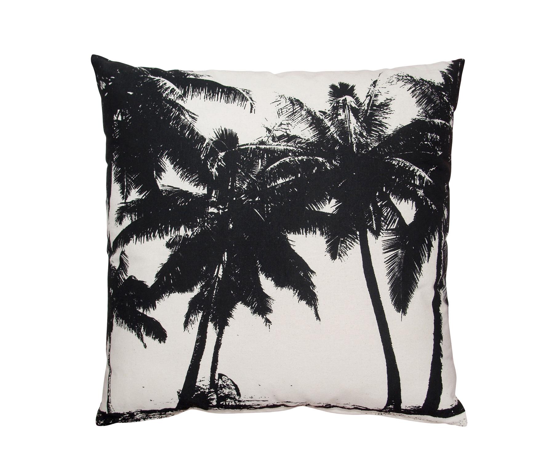 Kussen Zwart Wit.Hkliving Palm Kussen Xl 60x60 Cm Katoen Zwart Wit