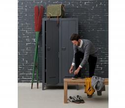 Afbeelding van product: WOOOD Kluis kast 190x95x44 cm geborsteld grenen staalgrijs