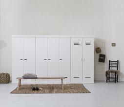 Afbeelding van product: WOOOD Connect 2-deurs kast 195x94x53 cm sleufgrepen grenen wit