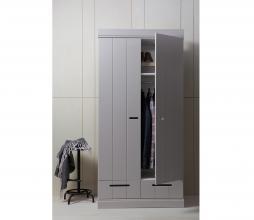 Afbeelding van product: WOOOD Connect 2-deurs kast 195x94x53 cm sleufgrepen grenen betongrijs