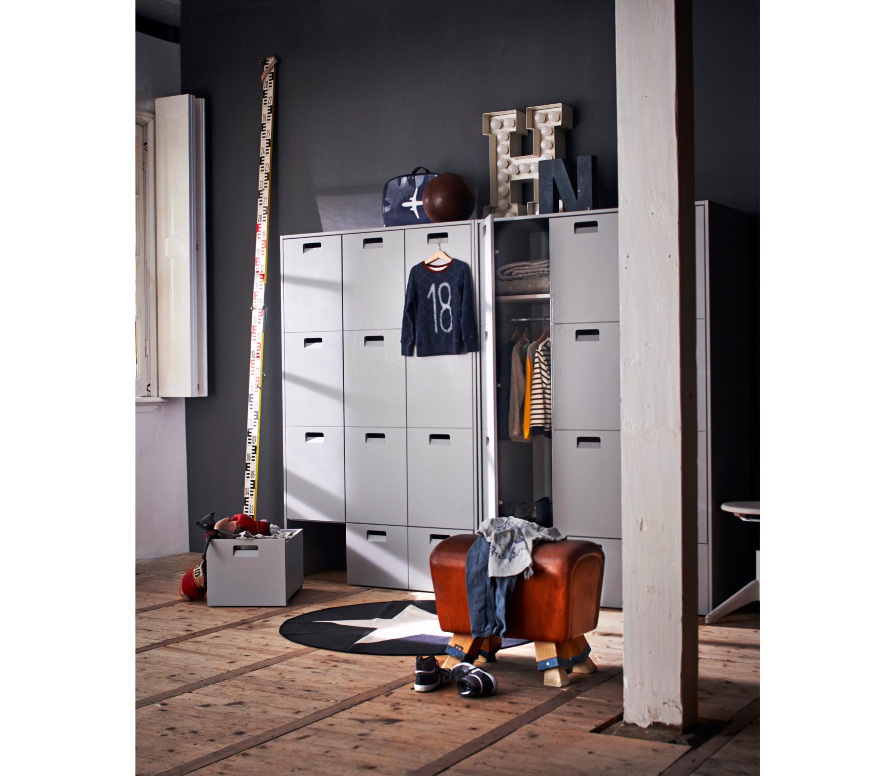 vtwonen Store junior garderobekast 185x119x56 cm grenen grijs