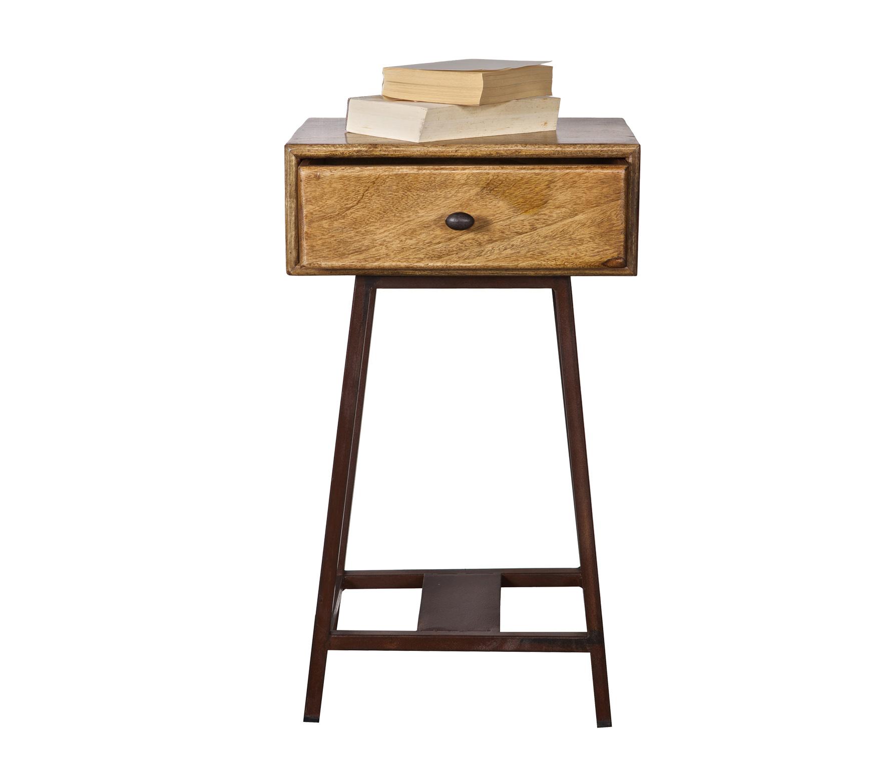 Hoog Tafeltje Met Lade.Bepurehome Skybox Vintage Sidetable Mangohout Bruin