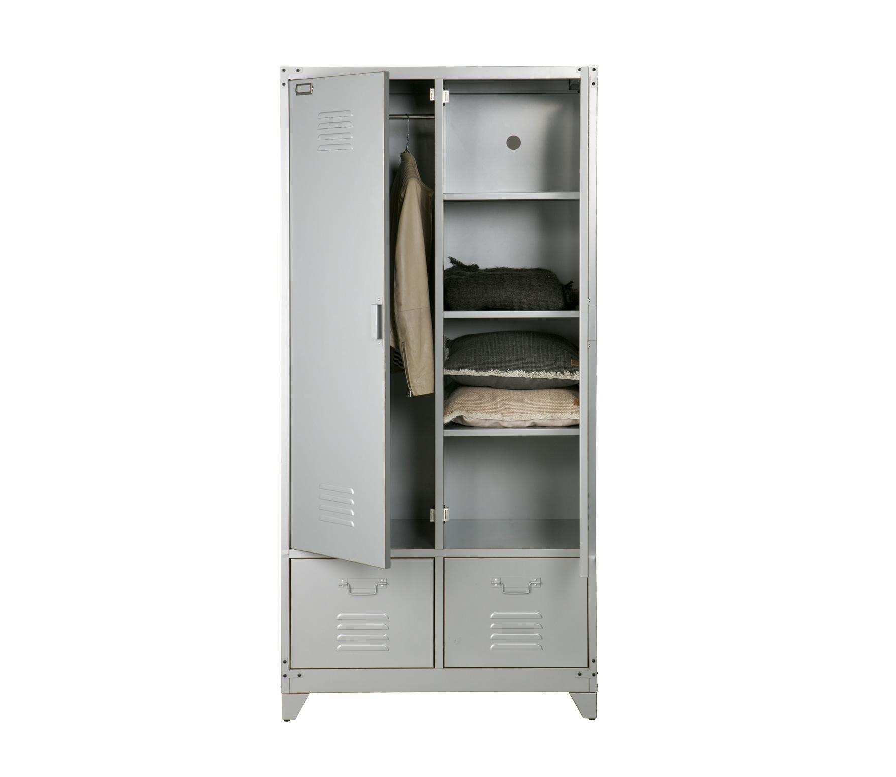 vtwonen Safe lockerkast zilvergrijs metaal open incl deco