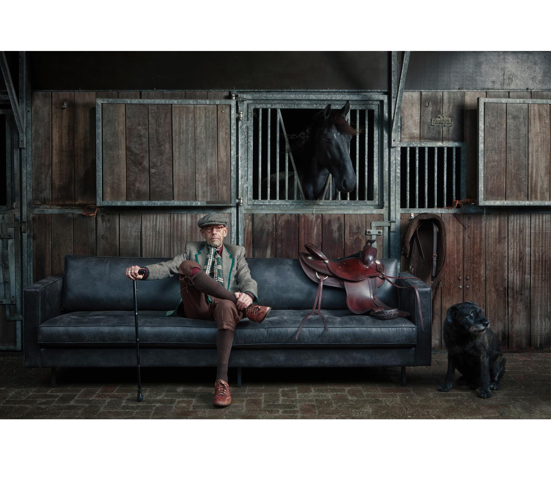 BePureHome Rodeo Classic 3-zits bank zwart recycle leer sfeer met model