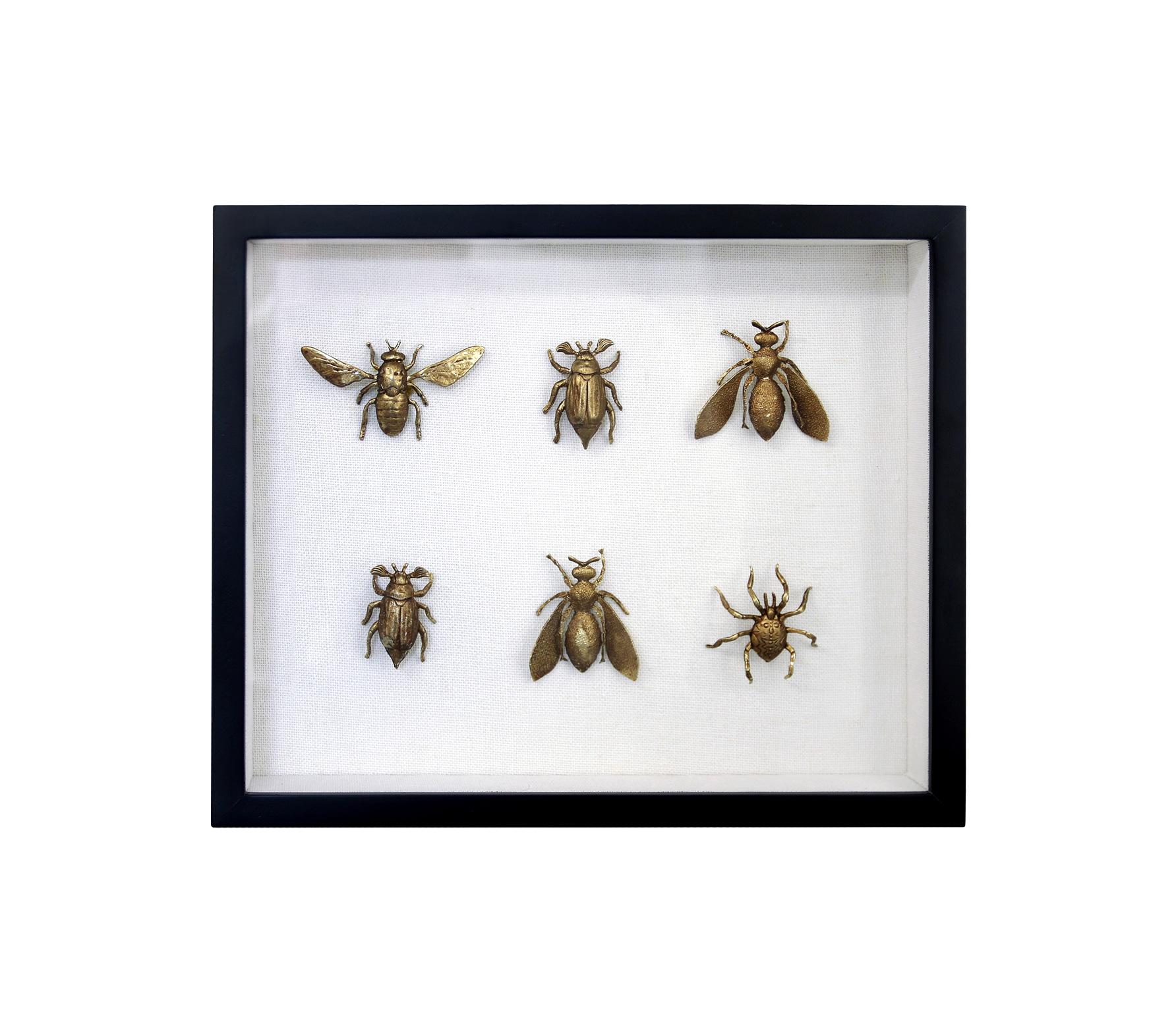 HKLiving Kunstlijst zwart met messing insecten in 3D