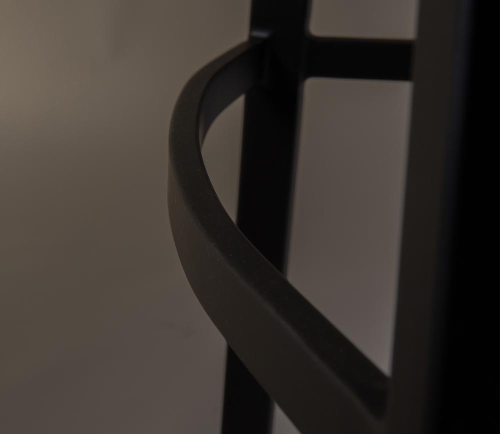 Dutchbone Franky counter kruk bruin PU leer detail onderstel