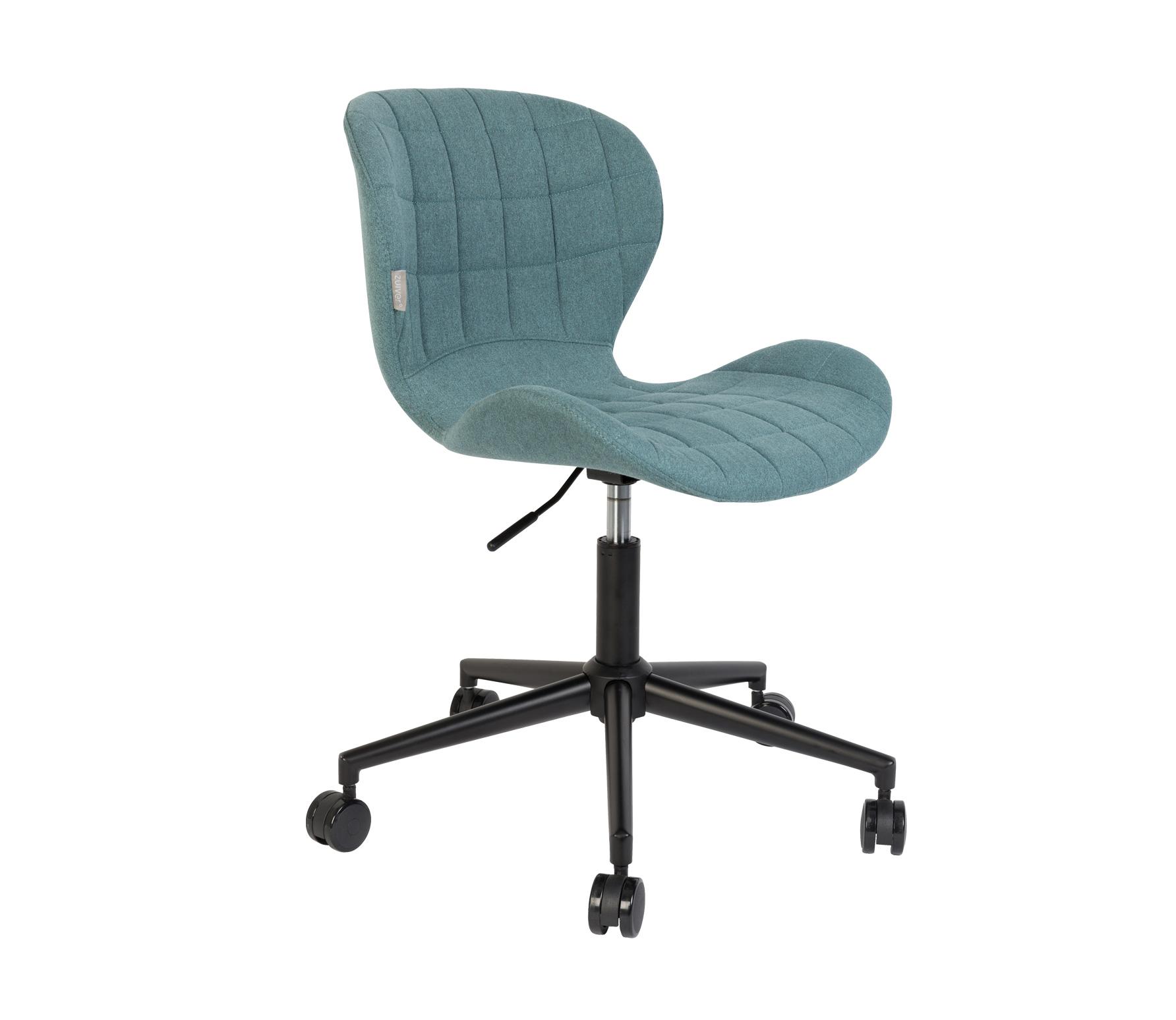 Zuiver OMG bureaustoel blauw zwart vrijstaand schuin