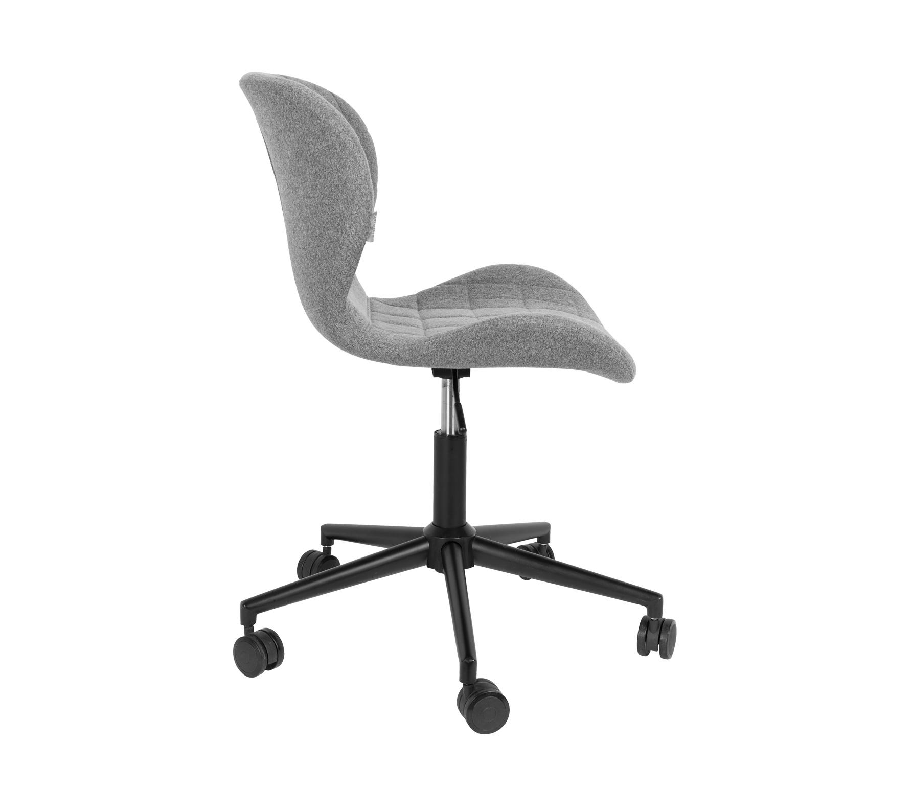 Zuiver OMG bureaustoel grijs zwart vrijstaand zijkant