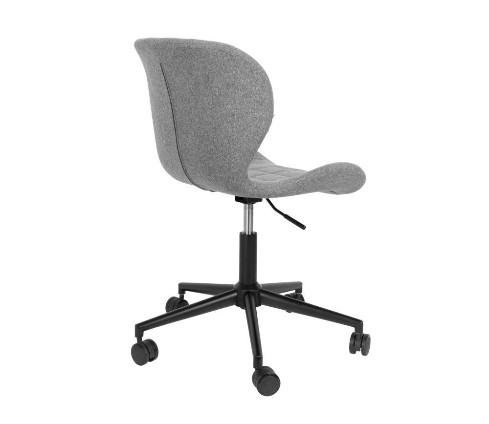 Zuiver OMG bureaustoel grijs zwart vrijstaand schuin achter