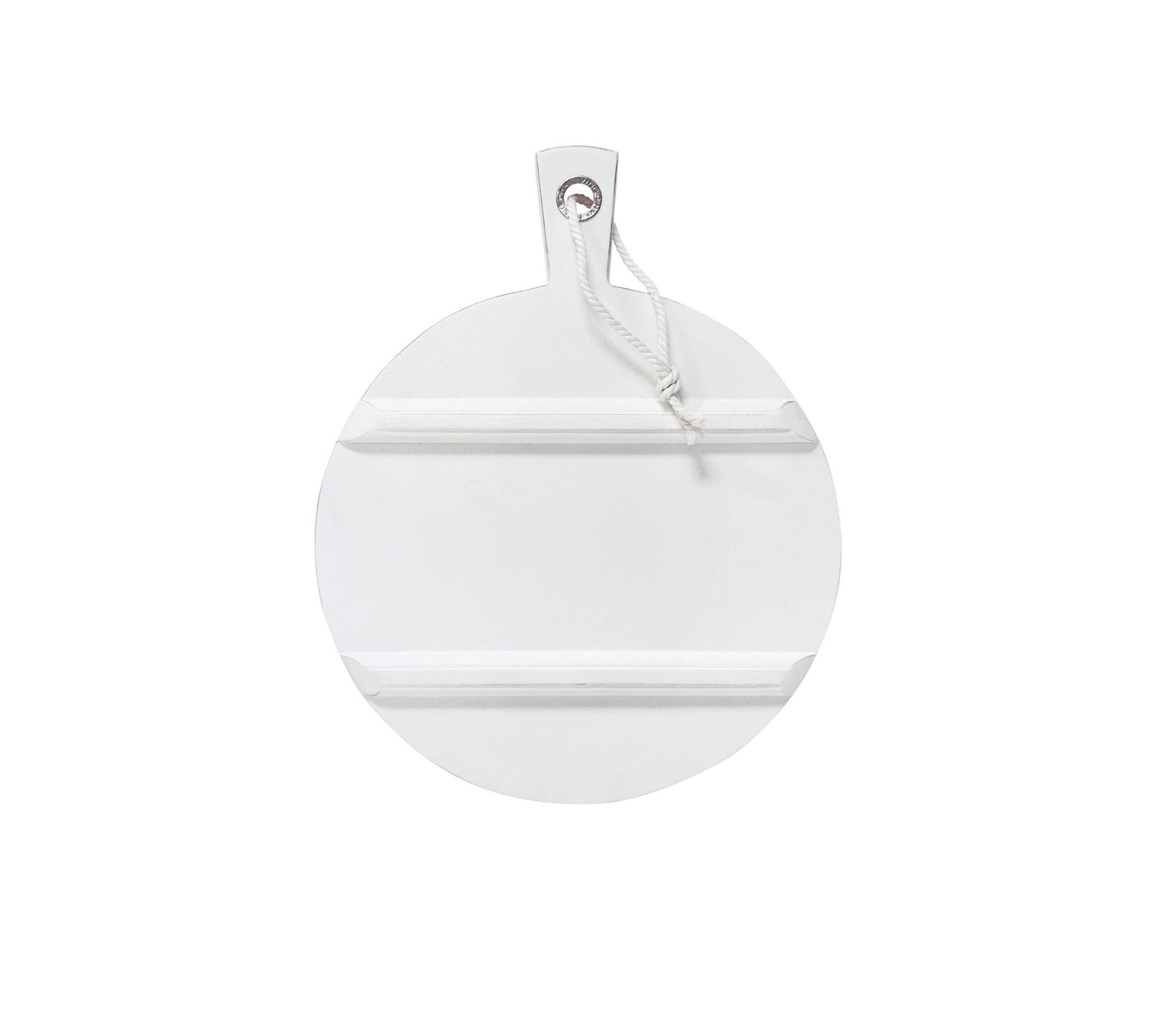HKLiving broodplank M rond wit hout met zilveren ring Ø 36 cm Wit