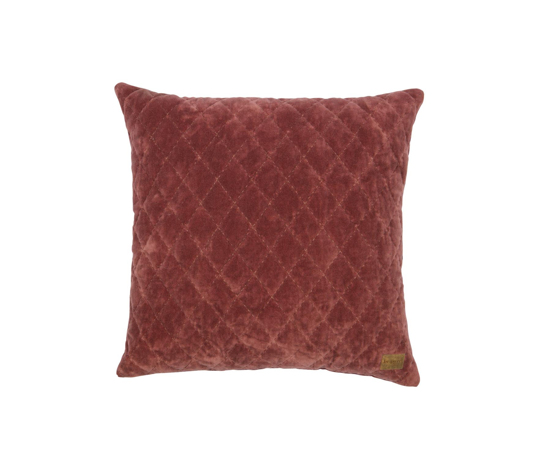 BePureHome Cuddle Diamond kussen fluweel marroon 45x45 cm vrijstaand