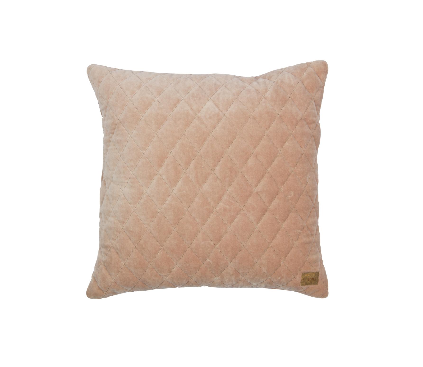 BePureHome Cuddle Diamond kussen fluweel nude 45x45 cm vrijstaand