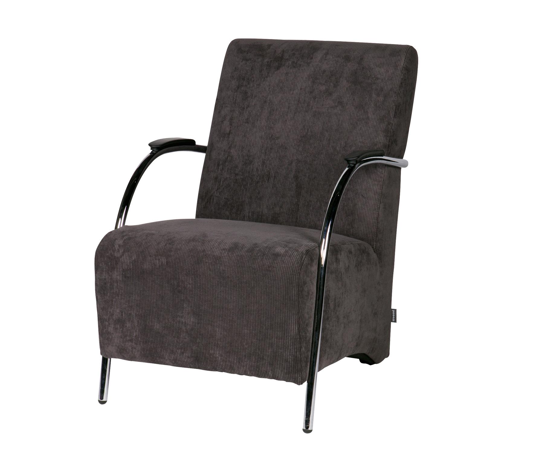 WOOOD Halifax fauteuil ribstof antraciet vrijstaand