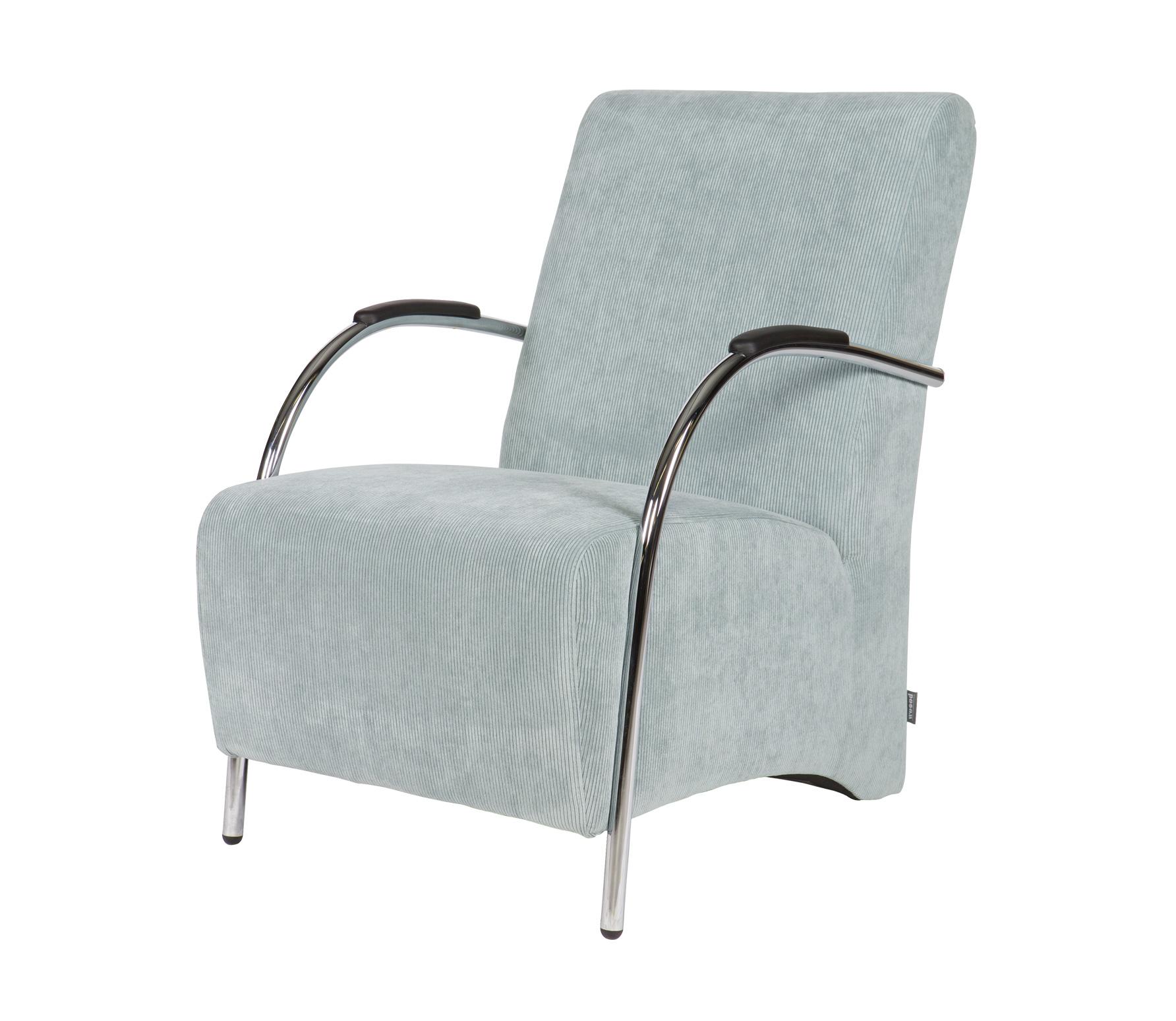 WOOOD Halifax fauteuil ribstof poederblauw vrijstaand