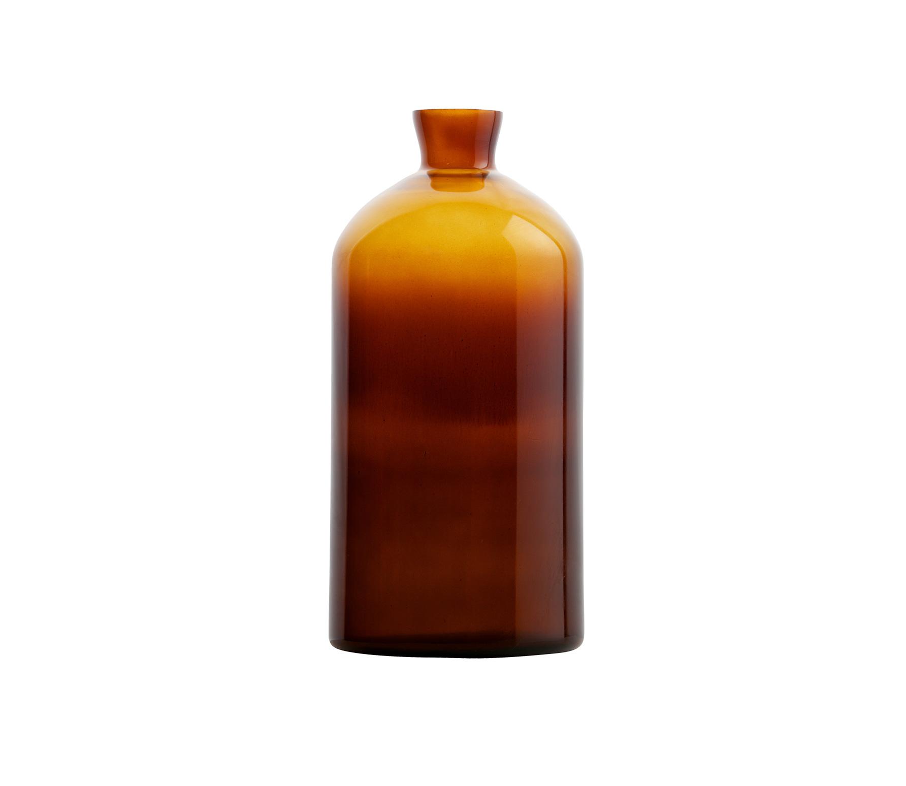 BePureHome Chemistry glazen vaas XL bruin vrijstaand