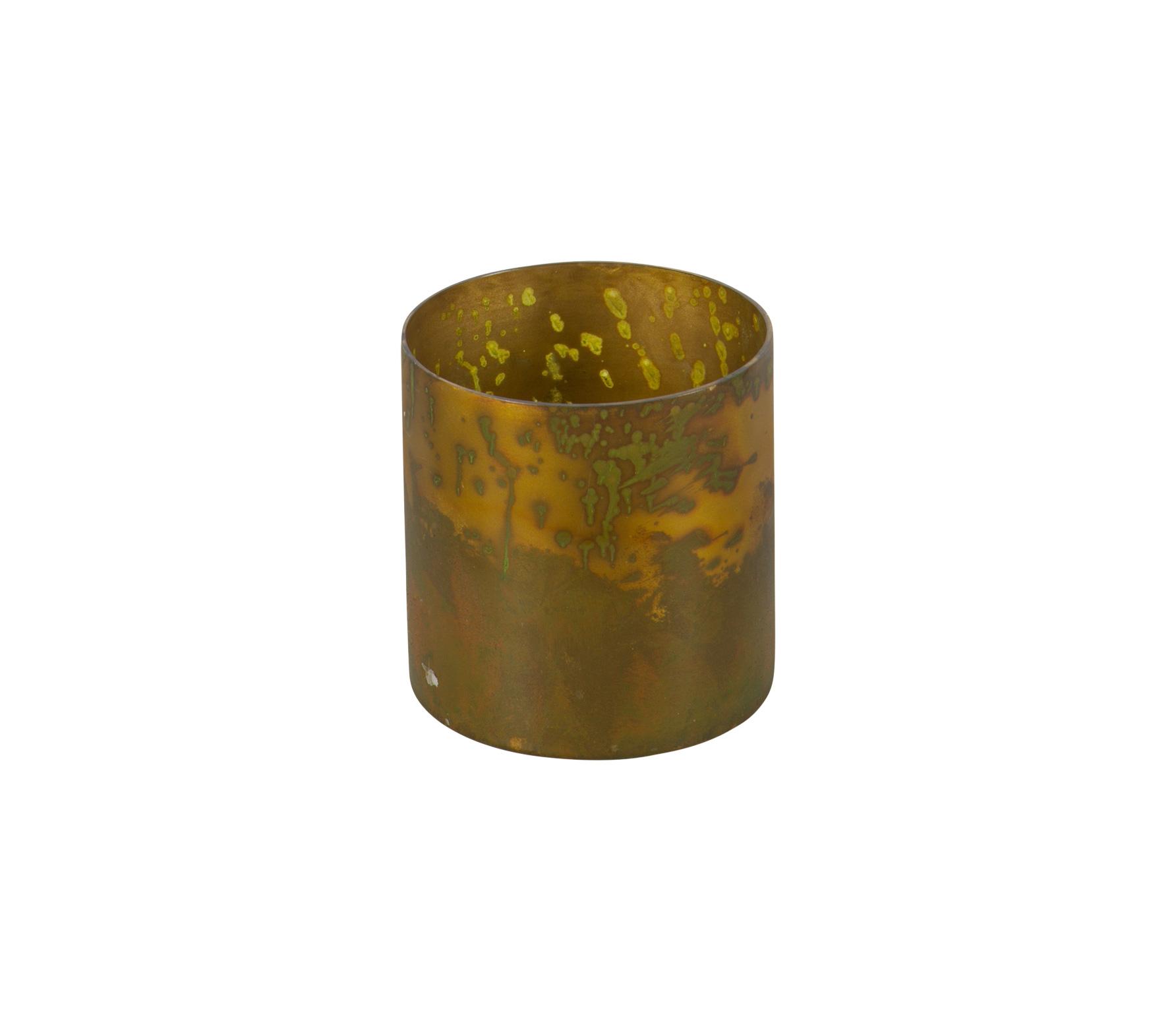 BrPuteHome Stardust glazen windlicht antique brass medium Ø10 voor
