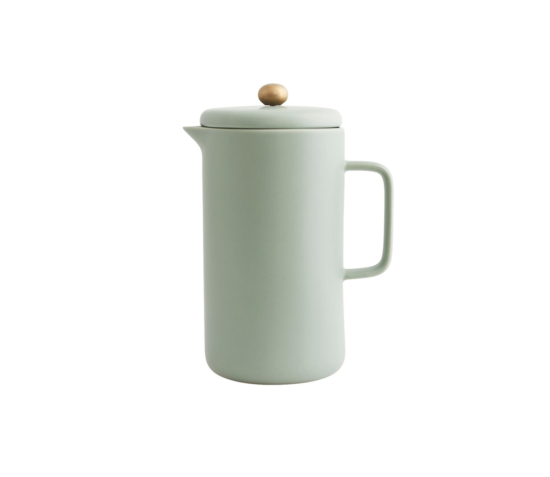 Housedoctor koffiepot porselein grijs-groen vrijstaand