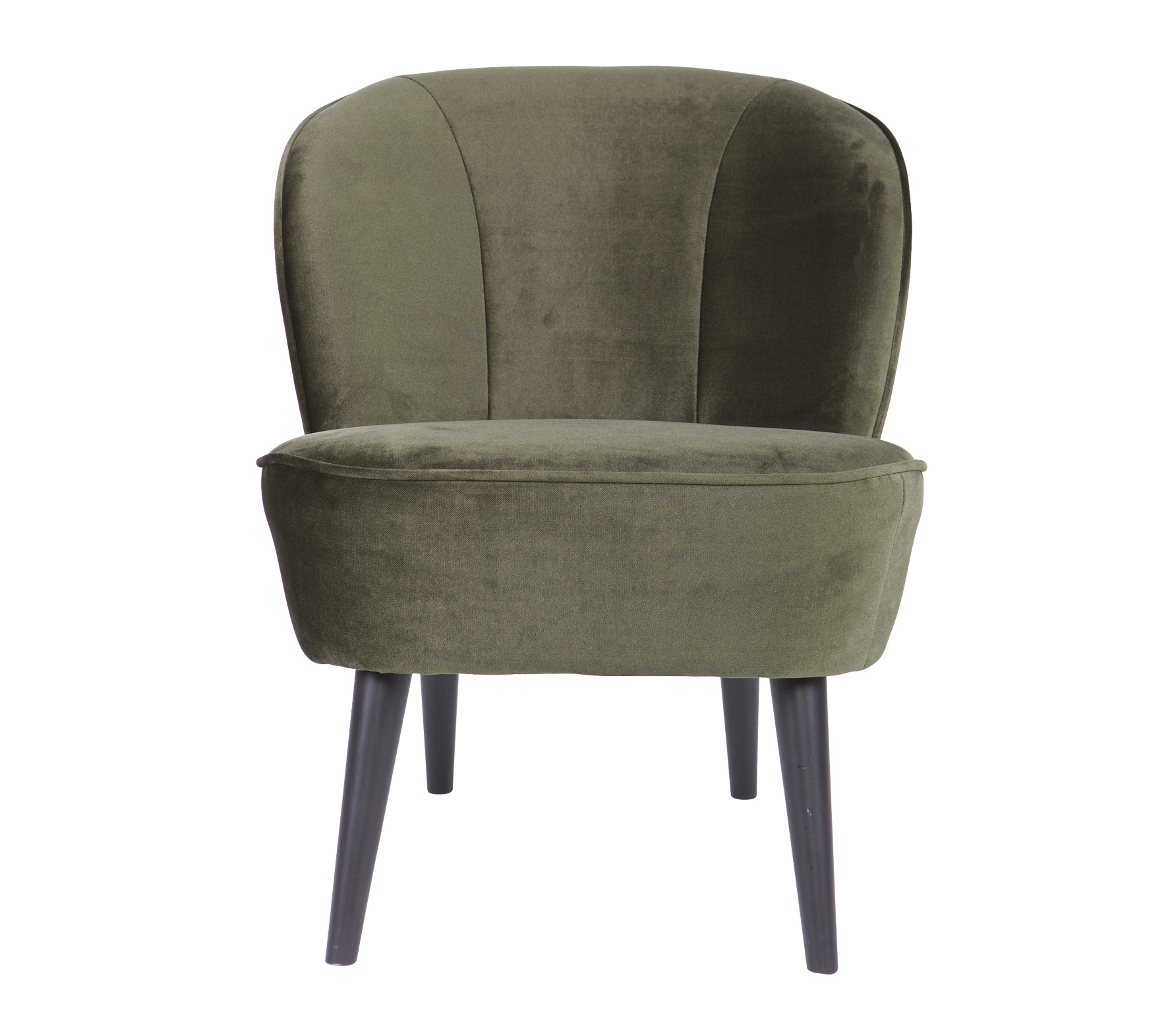 Woood Sara fauteuil fluweel warmgroen vrijstaand