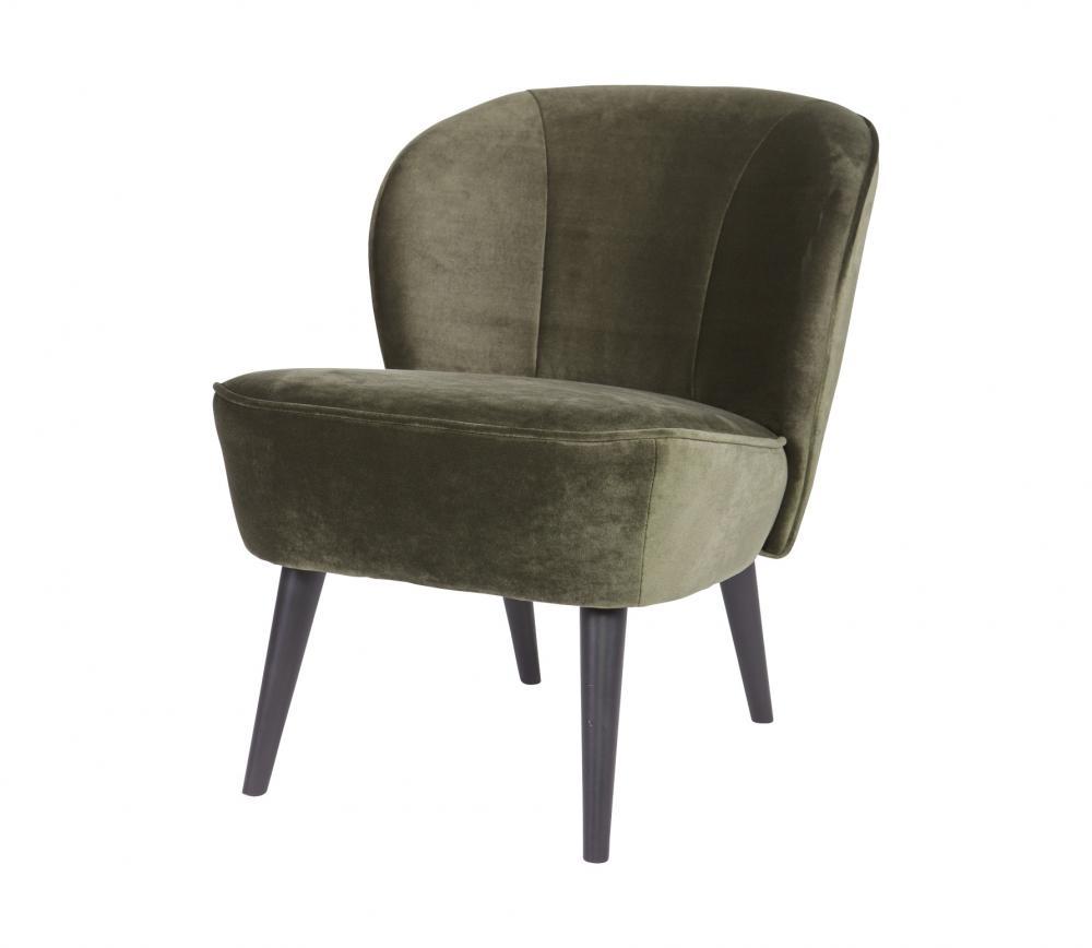 Woood Sara fauteuil fluweel warmgroen vrijstaand 2