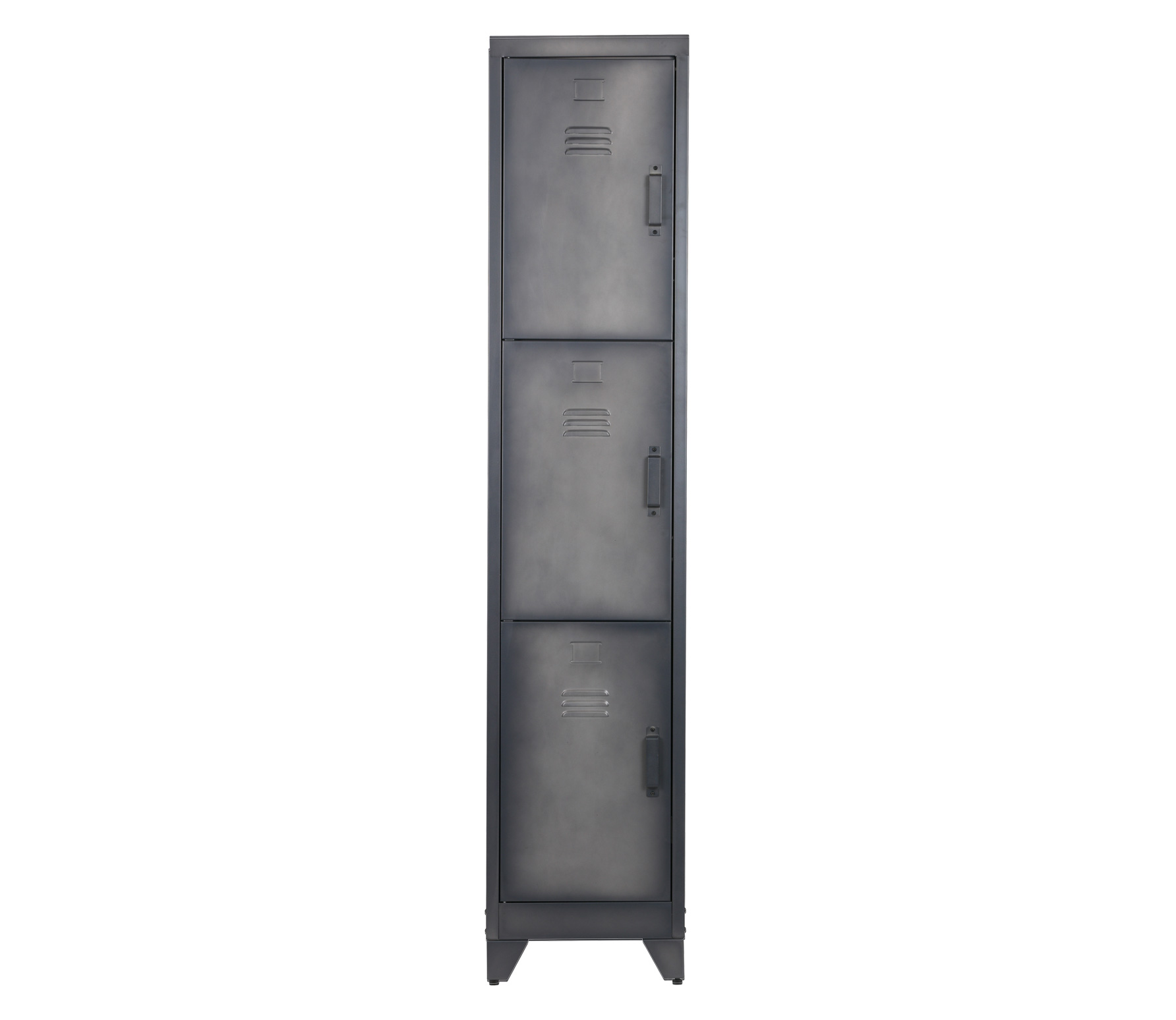 WOOOD Cas metalen lockerkast 3 deurs 180x38x46 cm metaal zwart