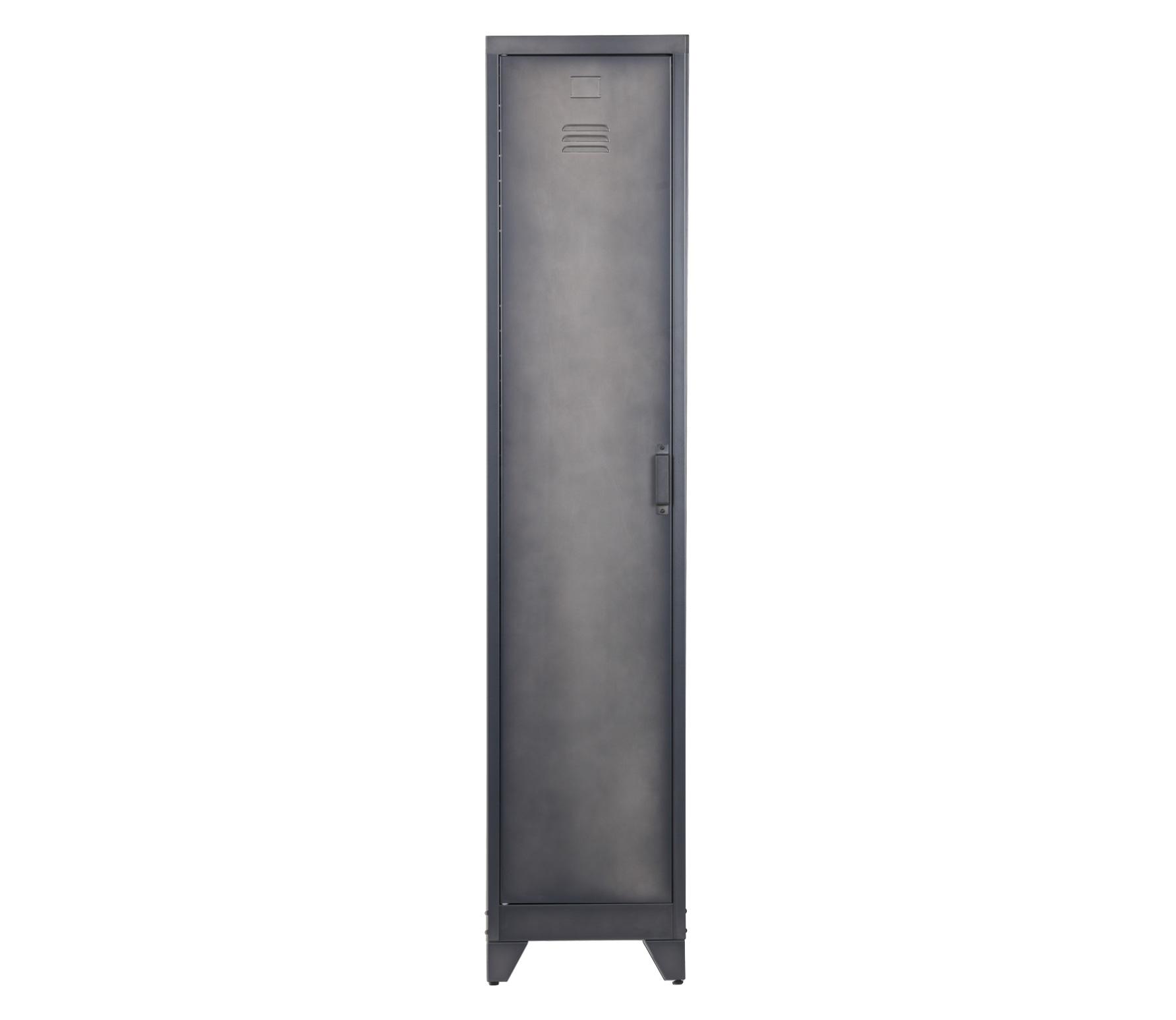 WOOOD Cas metalen lockerkast 1 deurs 180x38x46 cm metaal zwart
