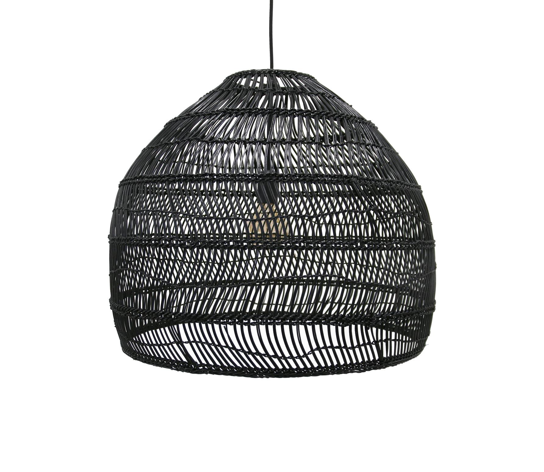 HKLiving Ball hanglamp riet zwart Ø 60 cm