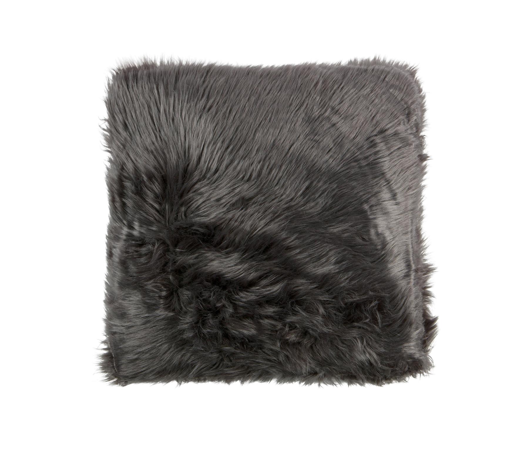 Imitatie schapenvacht kussen 50x50 cm grijs
