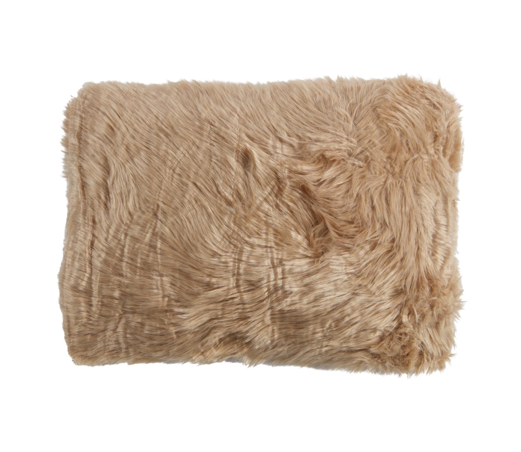 Imitatie schapenvacht kussen 40x60 cm taupe