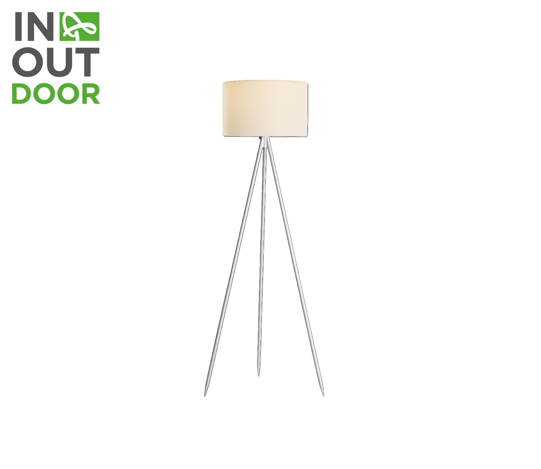 Buitenlamp vloerlamp driepoot 145 cm aluminium/stof zilver/wit