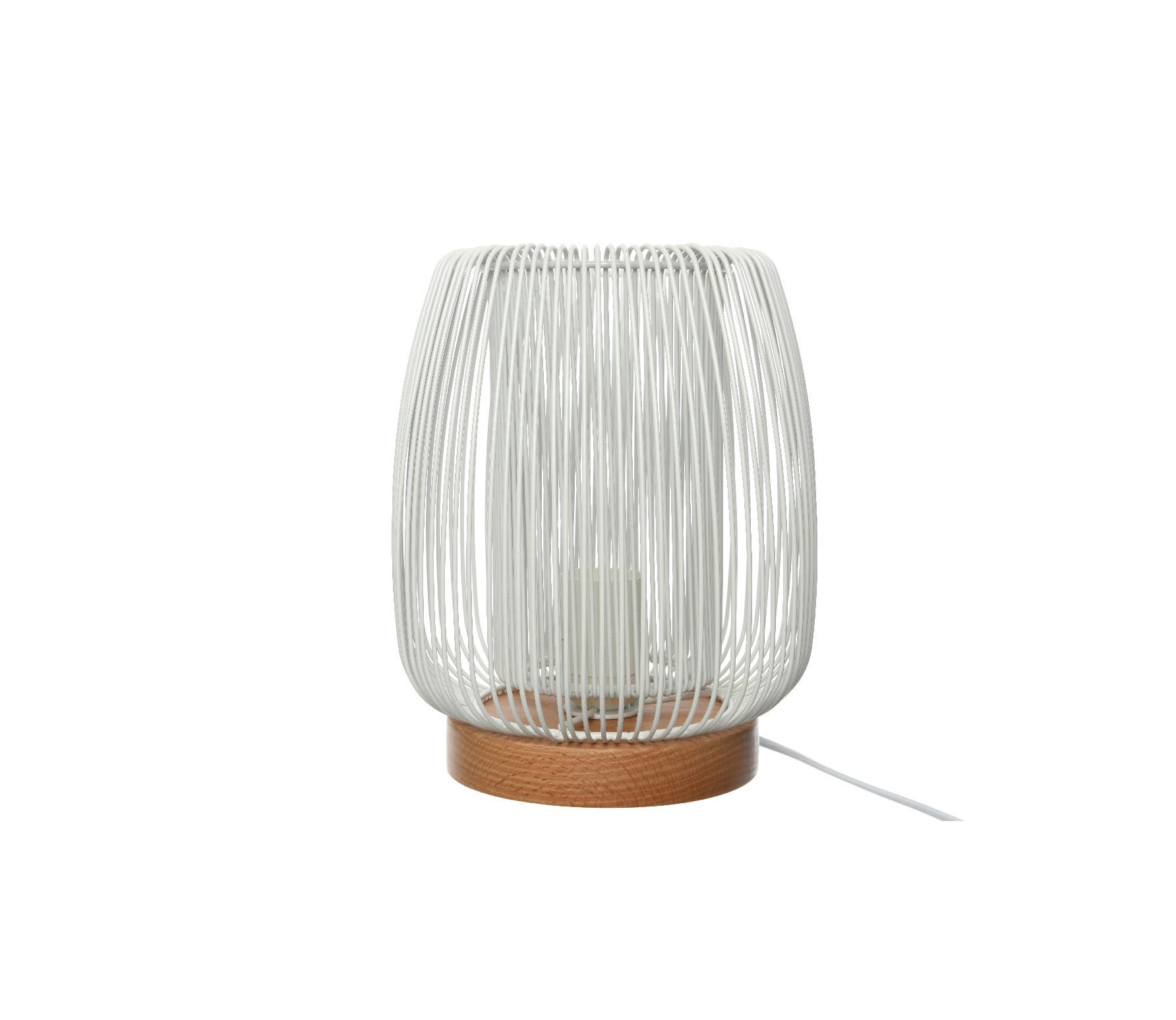 Tafellamp rond wit 19.5cm ijzer