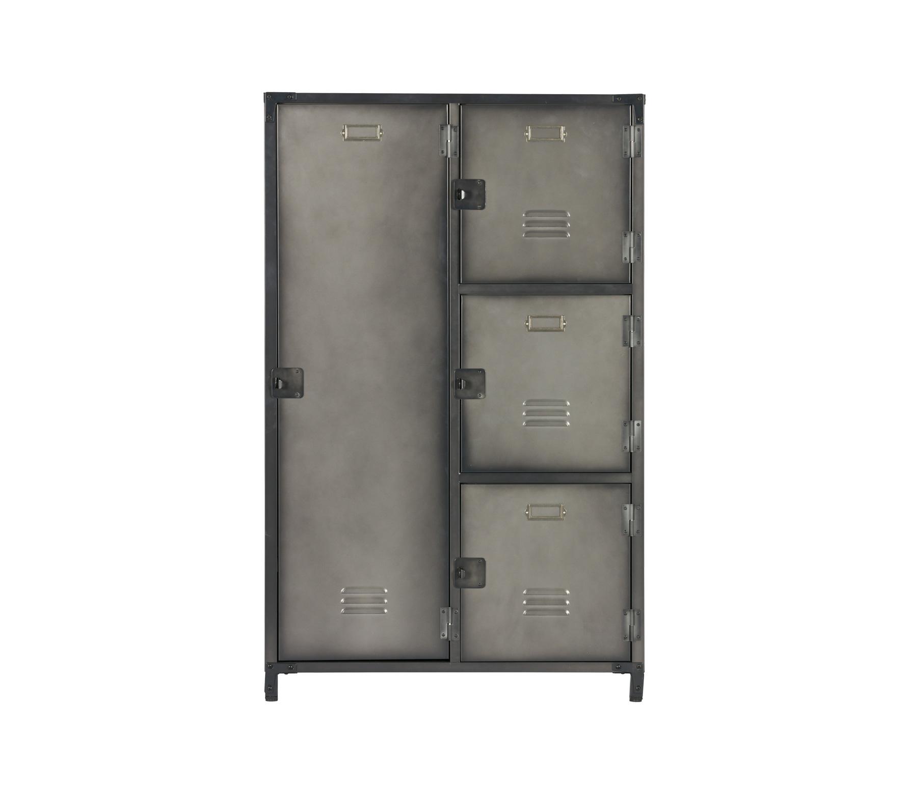 WOOOD Kick lockerkast 125x75x46 grijs metaal