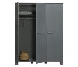 Afbeelding van product: WOOOD Dennis 3-deurskast 202x158x55 cm geborsteld grenen staalgrijs