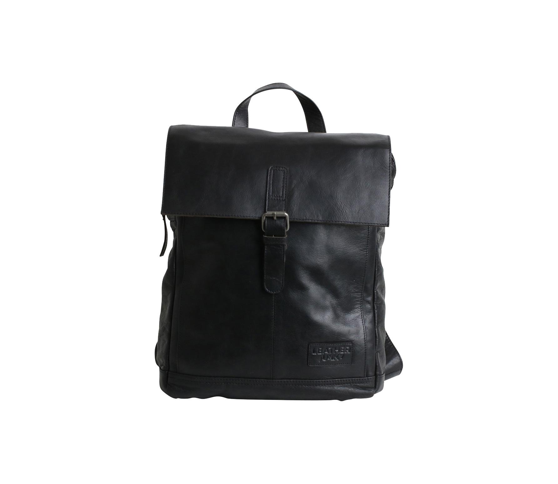 Watch your back pack rugtas zwart leer