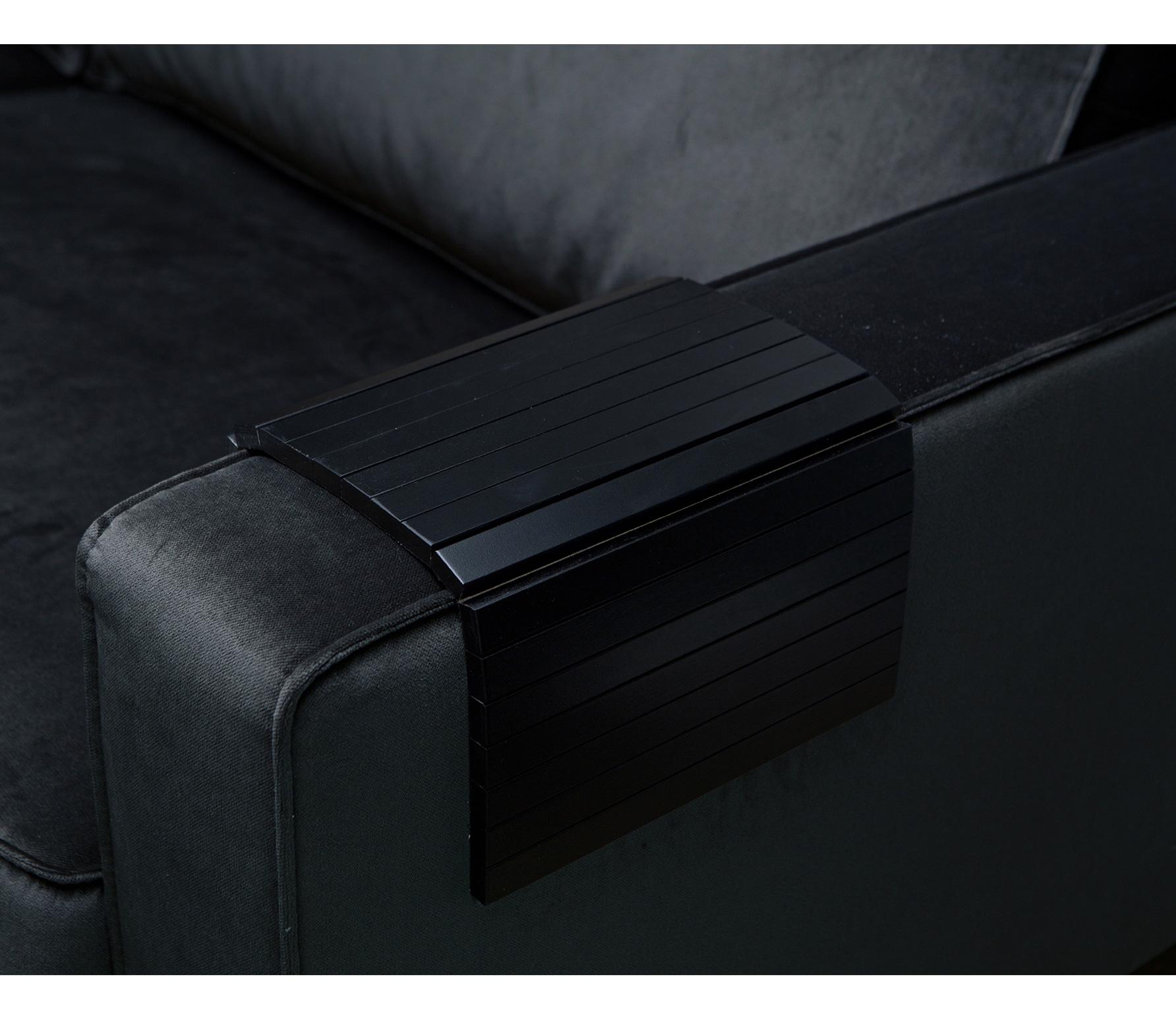WOOOD flexibele dienblad armleuning hout zwart normaal