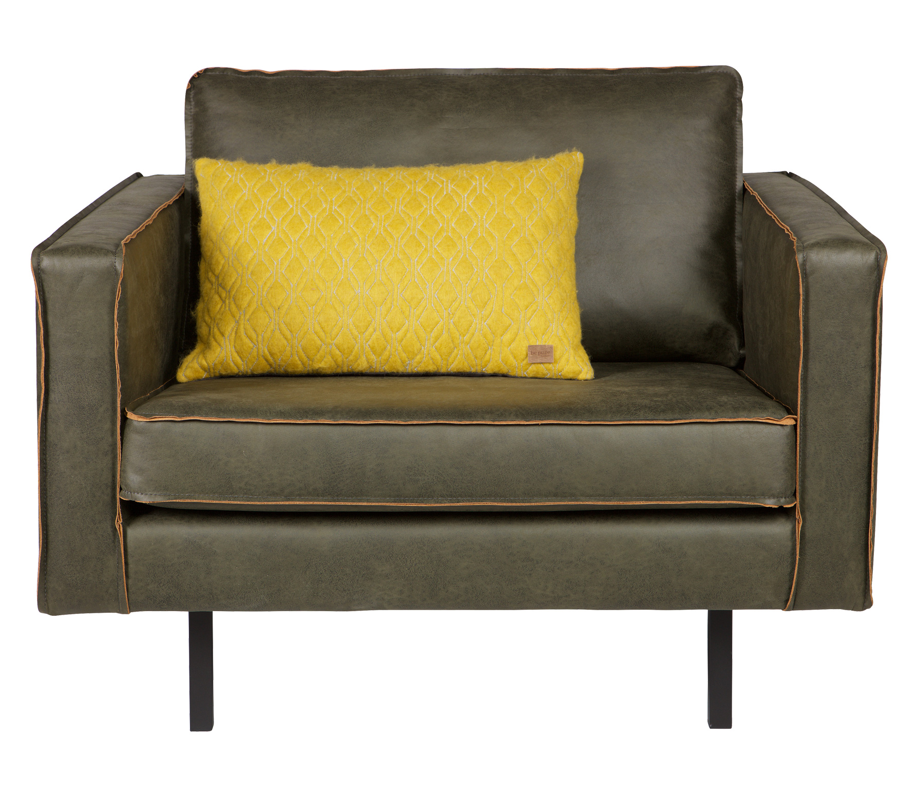 BePureHome Rodeo loveseat 1,5-zits fauteuil recycle leer army