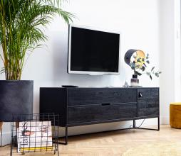 Afbeelding van product: WOOOD Exclusive Silas tv meubel geborsteld essenhout blacknight