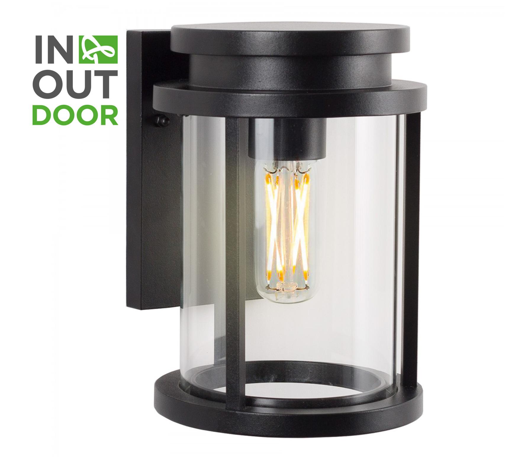 Sydney wandlamp M zwart aluminium/glas