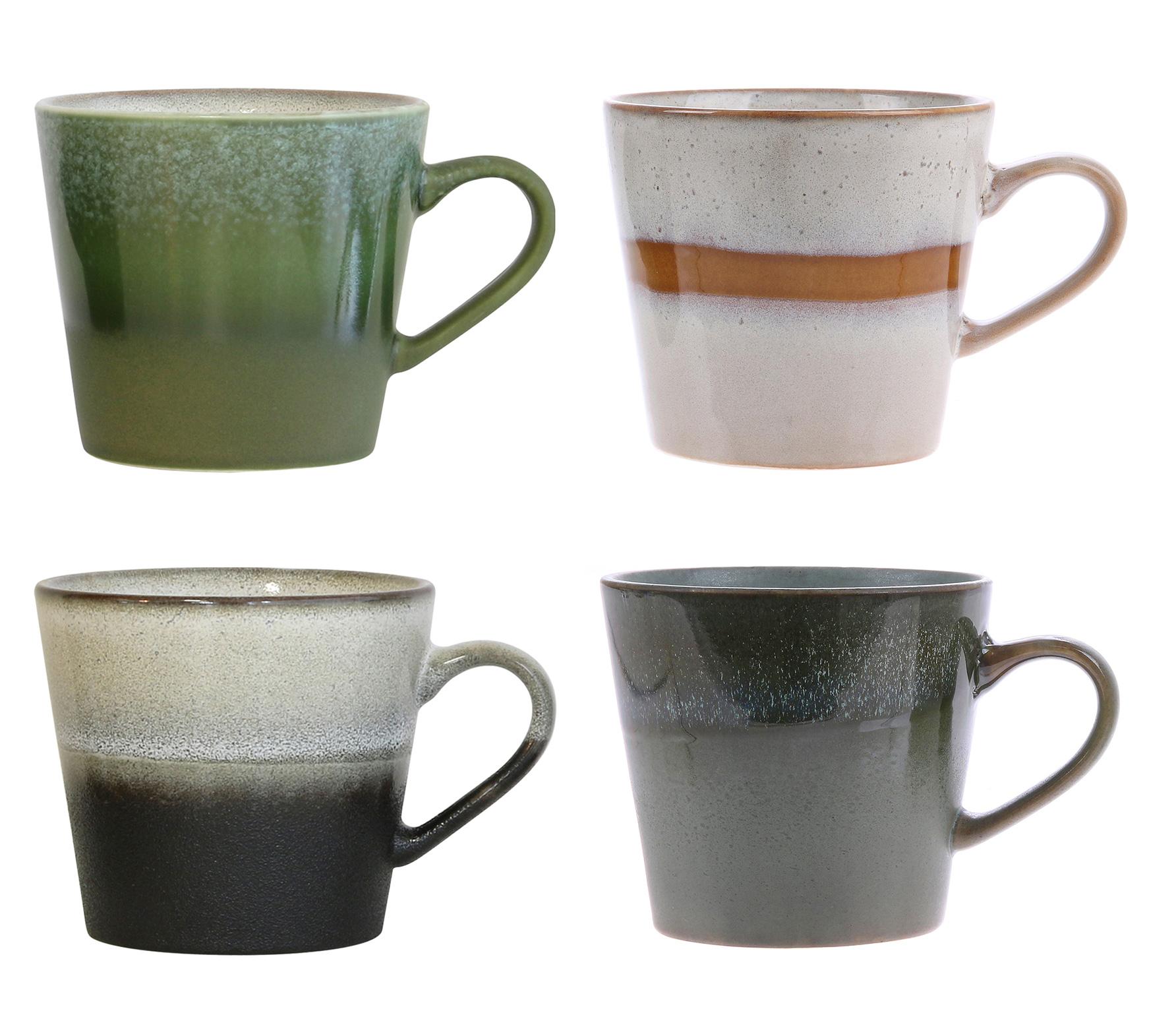 HKLiving set van 4 cappuccino mokken 70's keramiek