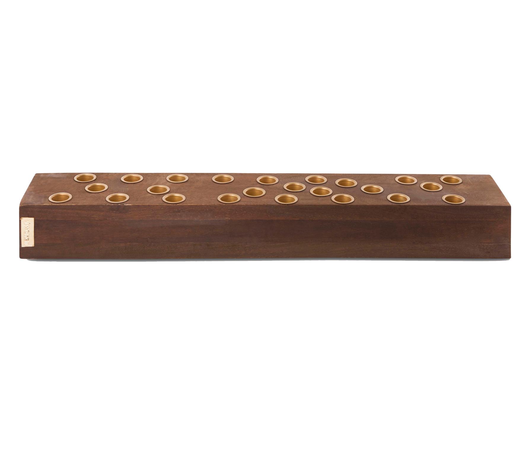 vtwonen kandelaar rechthoek 60x10 cm hout bruin
