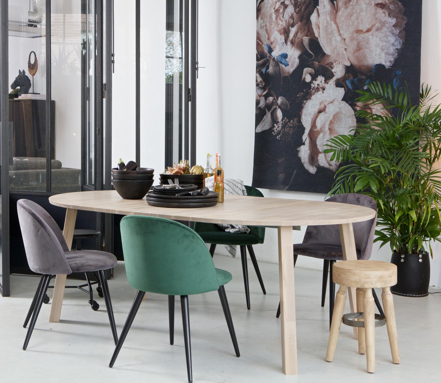 WOOOD Exclusive Lange Jan uitschuifbare eettafel rond eikenhout blank geschuurd