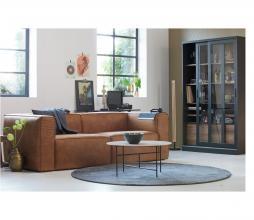 Afbeelding van product: WOOOD Exclusive James vitrinekast 200x125x47 cm grenen zwart/notenhout print