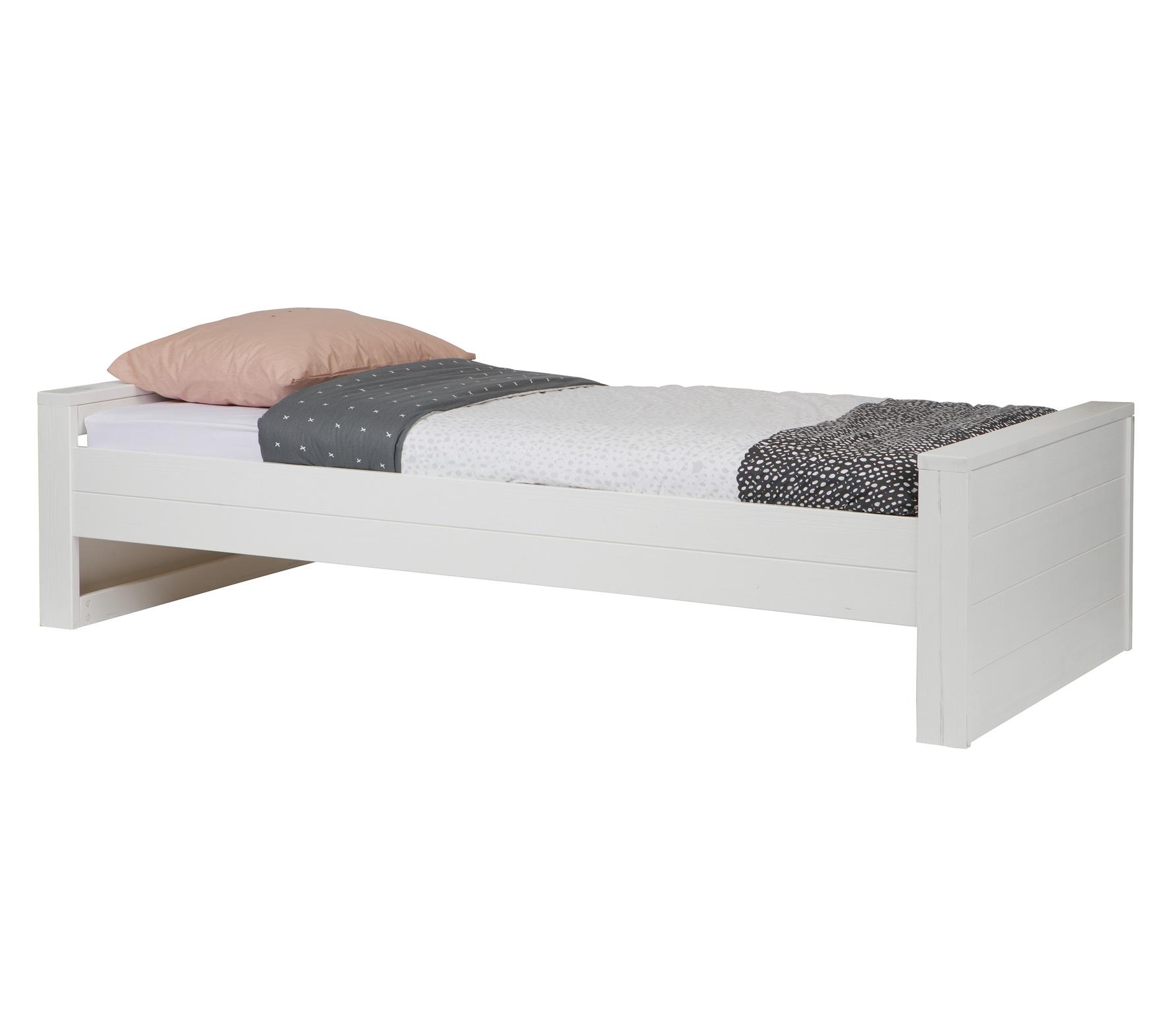 WOOOD Robin bed 90x200 cm wit geborsteld grenen exc.l lade