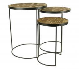 Afbeelding van product: Pattern bijzettafels, set van 3 hout bruin